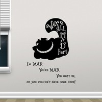 Cheshire Cat Alice In Wonderland Inspired Vinyl Sticker Quotes We Are All Mad Here Decal Car Window Sticker DIY Murals B695