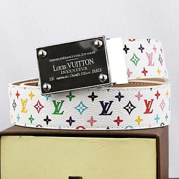 Louis Vuitton LV Fashion New Multicolor Monogram Leather Women Men Leisure Belt White