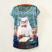 White Professor Cat Print T-Shirt
