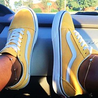 Vans Old Skool Classics  Sneaker Yellow + white line Hot Sale Color
