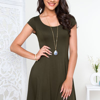 Fawna Skater Dress - Olive