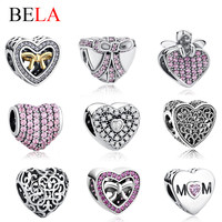 European 925 Sterling Silver Love Hearts Beads Crystal MOM BOW KNOT Charms Fit Pandora Bracelet Necklace DIY Original Jewelry