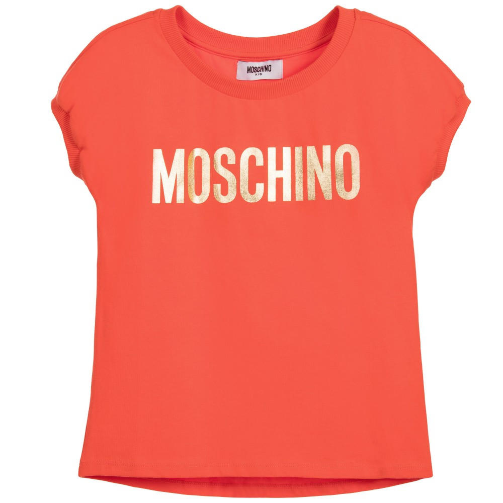 Image of Moschino Girls Coral & Gold Logo Top