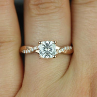 Tressa 14kt Rose Gold Cushion FB Moissanite and Diamond Twist Engagement Ring (Other Metals and Stone Options Available)