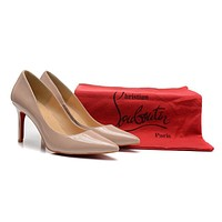 Christian Louboutin Nude Color Patent Leather High Heels 80mm