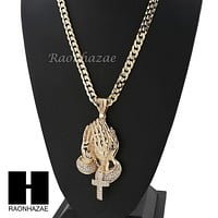 L PRAYING HANDS PENDANT & DIAMOND CUT CUBAN LINK CHAIN NECKLACE NN53