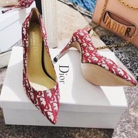 JADIOR Popular Women Retro Pointed Stylish Print Sandals Heels Shoes 7.5 CM