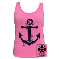 Girlie Girl Rope Bella Anchor Comfort Colors Pink Bright Tank Top Shirt