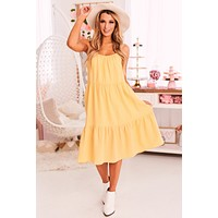 Delighted Heart Tiered Midi Dress (Lemon)