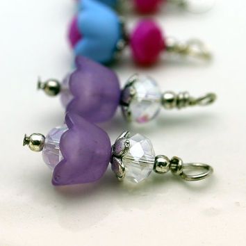3 Pair of Baby Bell Lucite Flower Bead Dangle Charm Drop Sets In Lime Green Purple and Blue with Pink