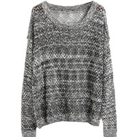 L 073010 Mixed line hollow bat sleeve loose knit sweater