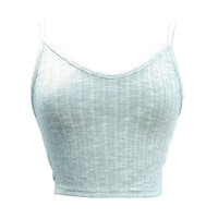 Ribbed Rayon Crop Tank Top