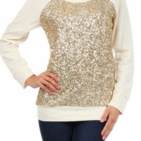 Cream Top with Gold Sequins