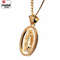 """Jewelry Kay style Men's Fashion Gold Toned Virgin Mary Guadalupe 24"""" Cuban Chain Pendant Necklace"""