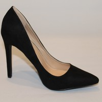 Kylie Black Suede Pointy Toe Pump