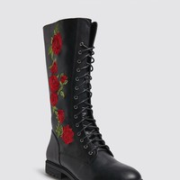 Embroidered Faux Leather Boots