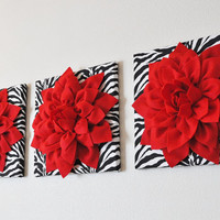 "TWO Wall Flowers -Red Dahlia Flowers on Black and White Zebra Print 12 x12"" Canvas Wall Art- Baby Nursery Wall Decor-"