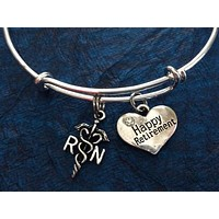 Happy Retirement RN Bracelets Adjustable Expandable Silver Wire Bangle Nurse Gift Handmade Trendy Custom