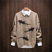 Young Man Autumn and Winter Japanese Retro Trend New Shark Pattern Solid Color Leisure Fashion Loose Thick Sweater