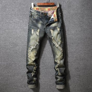 Ripped Holes Stylish Slim Fashion Jeans [3444984774749]