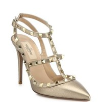 Valentino-Rockstud Two-Tone Leather Pumps