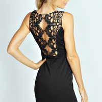 Rozie Lace Back Diamante Trim Bodycon Dress