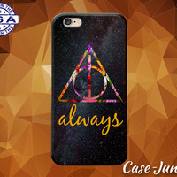Always Quote Deathly Hallows Flower Galaxy Harry Potter Custom Case For iPhone 4 and 4s and iPhone 5 and 5s and 5c and iPhone 6 and 6 Plus +