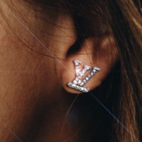 LV classic English alphabet ear clip ear studs female temperament fashion ear clip ear studs F/A