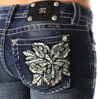 Miss Me Women's Crystal Wildflower Boot Cut Jeans