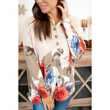 Carry On Waffle Pullover (Mocha Floral) FINAL SALE