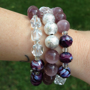 Purple Beaded Memory Wire Wrap Bracelet, Bird Charm