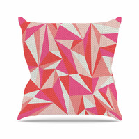 "MaJoBV ""Stitched Pieces"" Red Pink Outdoor Throw Pillow"