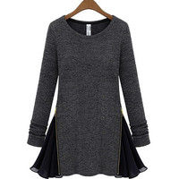 Zipper Chiffon Stitched Sweater
