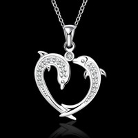 ON SALE - Dolphin Love Heart Necklace