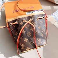 Louis Vuitton LV Women Retro Leather Cute Mini Bucket Bag Crossbody Satchel Shoulder Bag