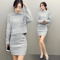 2017 Women Hoodies Tops And Skirt Set Spring Autumn Sweatshirts+Short Skirts Two Piece Set Knit Suit Twinset Women Clothing