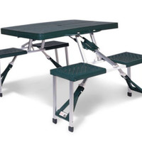 Sturdy Picnic Table With Foldable Seats Rectangular Patio Furniture Green Finish