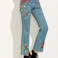 Blue Embroidered Crop Flare Jeans