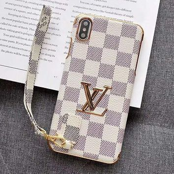 LV Louis Vuitton Fashion Print iPhone Phone Cover Case For iphone 6 6s 6plus 6s-plus 7 7plus iPhone X XR XS XS MAX White