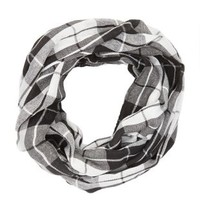 Two-Tone Plaid Infinity Scarf by Charlotte Russe - Black/White