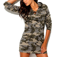 Casual Hooded Camouflage Long Sleeve Mini Dress