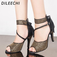 DILEECHI New arrival Adult Latin dance shoes women's high-heeled 10cm genuine leather ballroom dancing shoes Salsa party shoes
