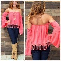 Eden Cove Coral Open Shoulder Top