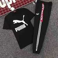 PUMA Popular Women Men Casual Print Short Sleeve Top Pants Trousers Set Two-Piece Sportswear Black