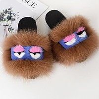 FENDI Fashion Women Cute Little Monsters Fur Flats Sandals Slipper Shoes Light Brown