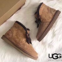 UGG 2019 new low-cut plus velvet short tube snow boots shoes
