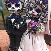 Day of the Dead hand painted ceramic wedding cake topper