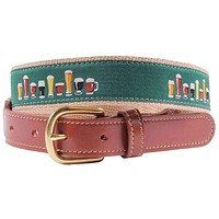 Crafty Beer Leather Tab Belt in Green by Country Club Prep