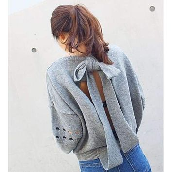Loose Backless Bow-Knot Sweater