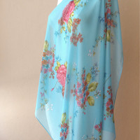 large cotton scarf, large square scarf, summer scarf, light soft scarf, pattern scarf, flowers scarf, blue shawl, hair scarf, blanket scarf